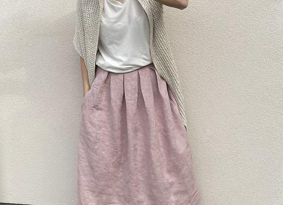 Lněná sukně  - RUŽOVÁ - vel. 36 (S)