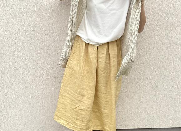 Lněná sukně  - ŽLUTÁ - vel. 38 (M)