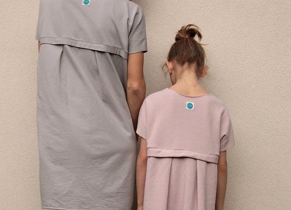 Úpletové bavlněné šaty -KHAKI