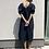 Thumbnail: Oversize šaty s nabíranými rukávy - TMAVĚ MODRÉ, vel. S-M