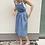Thumbnail: lněné šaty s volnými zády - MODRÉ, vel. 38 (M)
