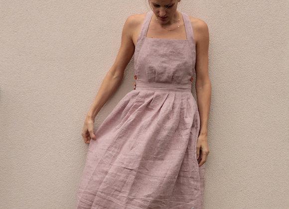 Kopilněné šaty s volnými zády - RUŽOVÉ, vel. 40 (L)