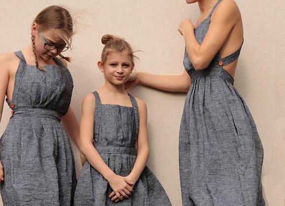 Kopie lněné šaty s volnými zády - ŠEDÉ, vel. 38 (M)