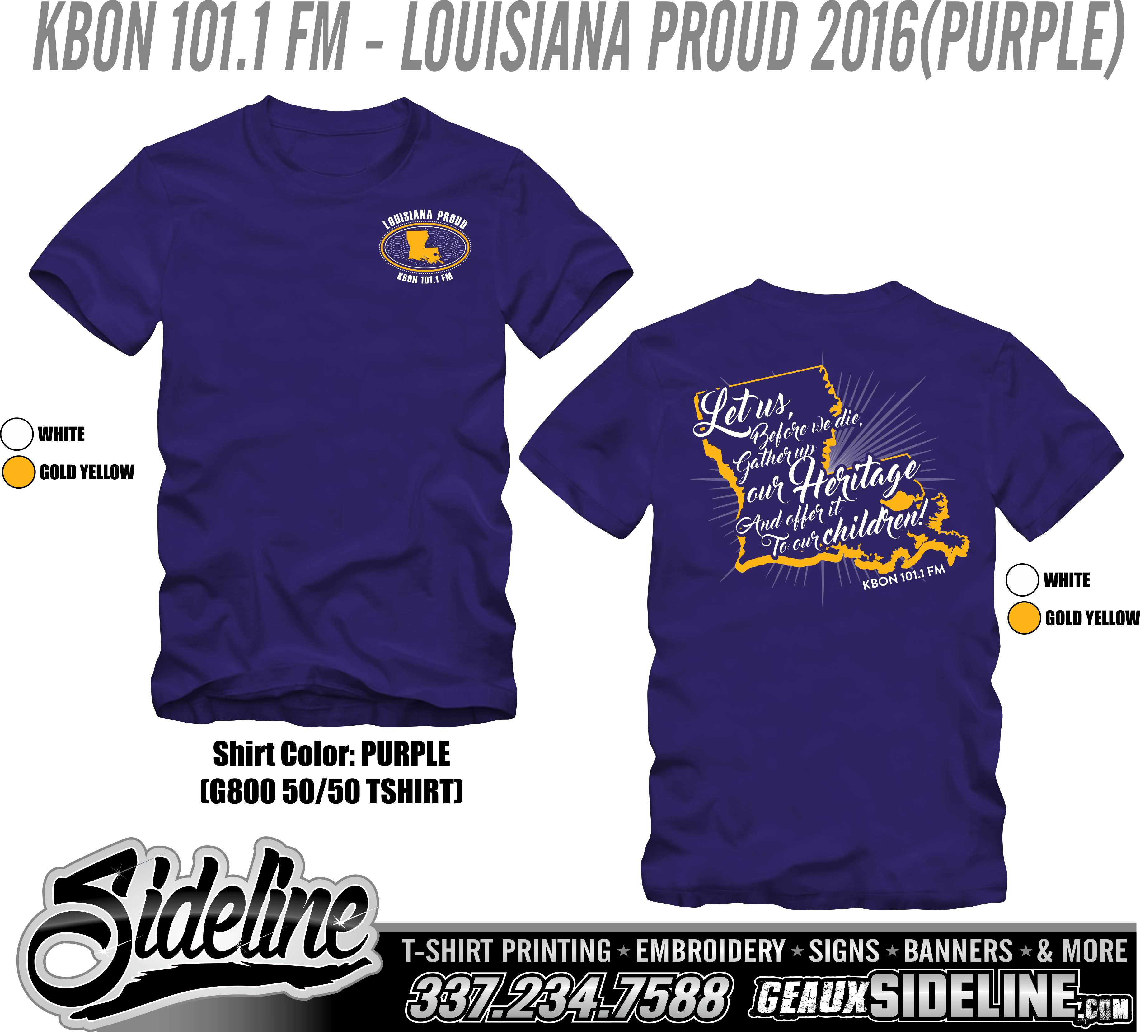 KBON 101.1 FM - LOUISIANA PROUD 2016 (PURPLE)