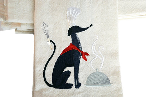 Black Greyhound Helping In Kitchen