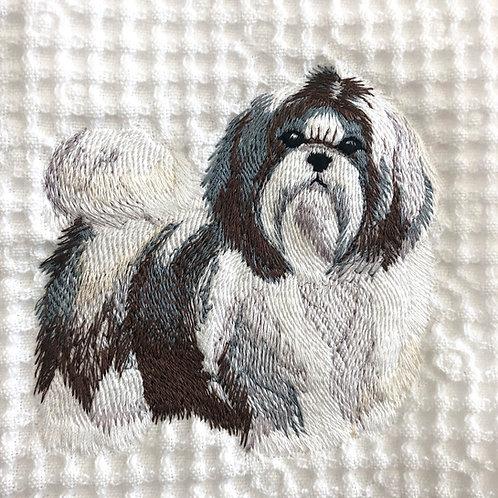 Shih Tzu Embroidered Waffle Weave Towel