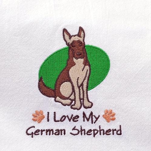 I Love My German Shepherd Dish Towel Close Up