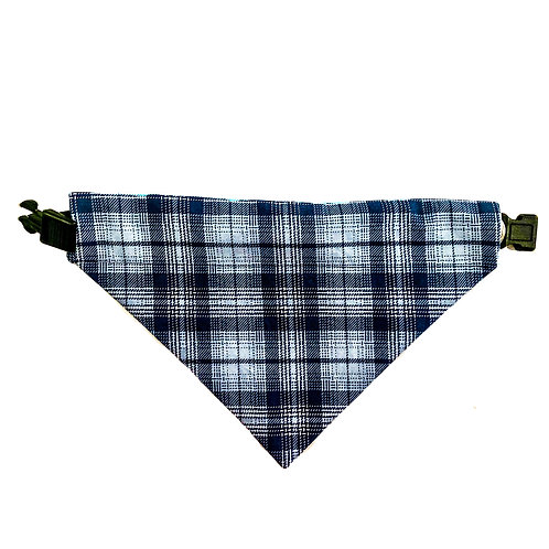 Blue Plaid Bandana - Over The Collar Dog Bandana