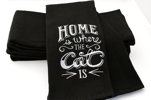 Home Is Where The Cat Is Black Kitchen Towel
