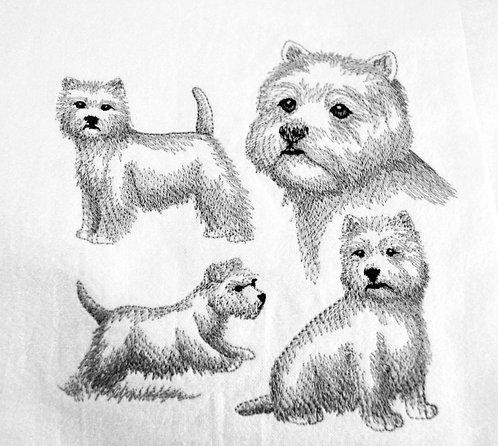 Westie Sketch Dog Tea Towel Close Up