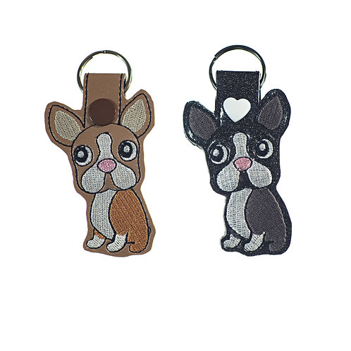 Boston Terrier or French Bulldog Key Fobs Gift