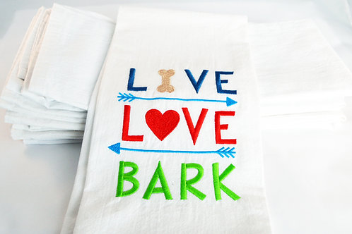 Live Love Bark Tea Towel