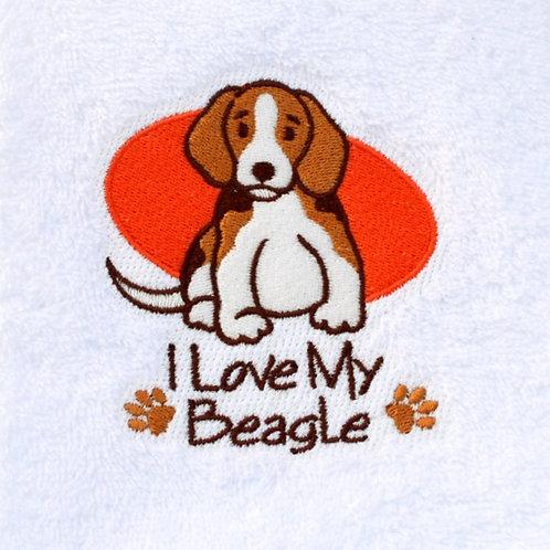 I Love My Beagle Hand Towels Close Up