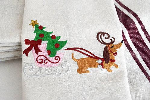Dachshund Pulling Santa's Sleigh