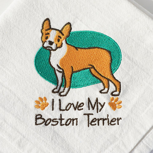 Boston Terrier Tea Towel Close Up