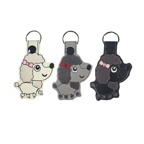 Poodle Key Fobs in Three Colors