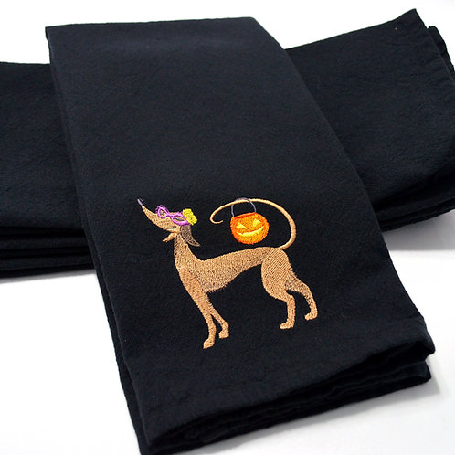 Trick or Treat Howl-O-Ween Hound Black Kitchen Towel