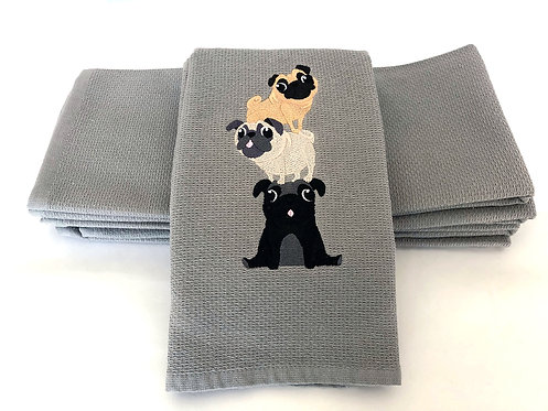 """Playful Pugs"" Kitchen Towel"