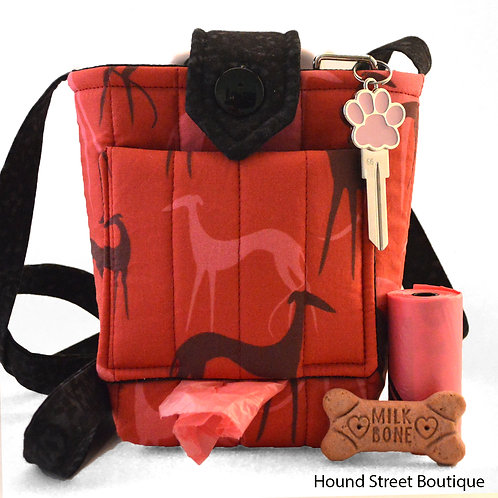 Red Greyhound Dog Walking Bag and Treat Bag Front View