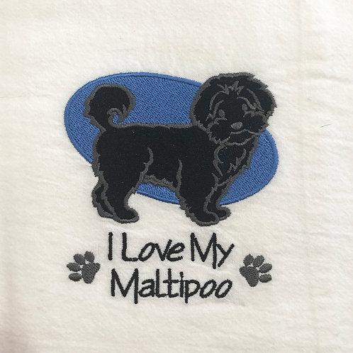 Black Maltipoo Tea Towel