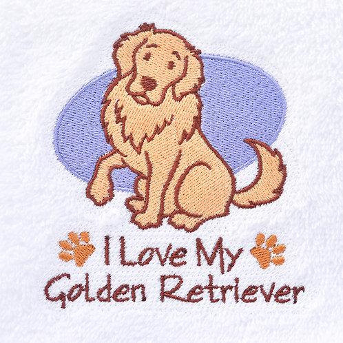 I Love My Golden Retriever Hand Towel Close UP