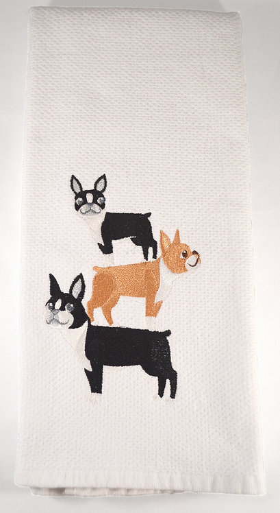 Boston Terrier Dog Embroidered Kitchen Towel Main View