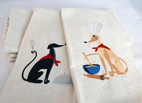 Greyhounds Helping In The Kitchen - Set of 2 Tea Towels