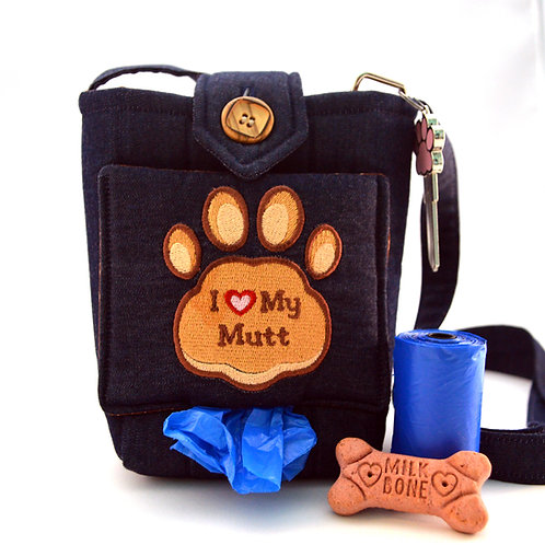 I Love My Mutt Dog Walking Bag Front