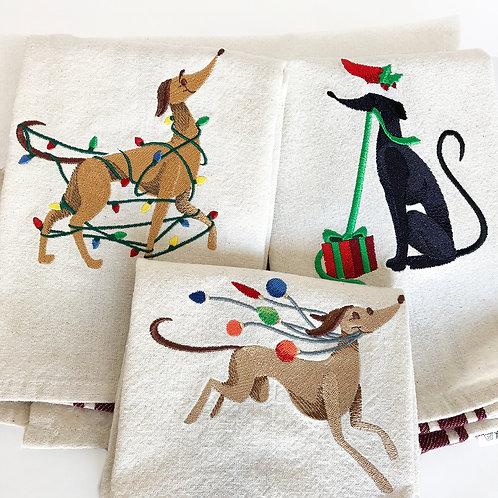 Greyound Christmas Tea Towel - Set of Three