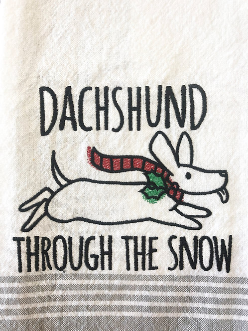Dachshund Through The Snow - Embroidered Towel