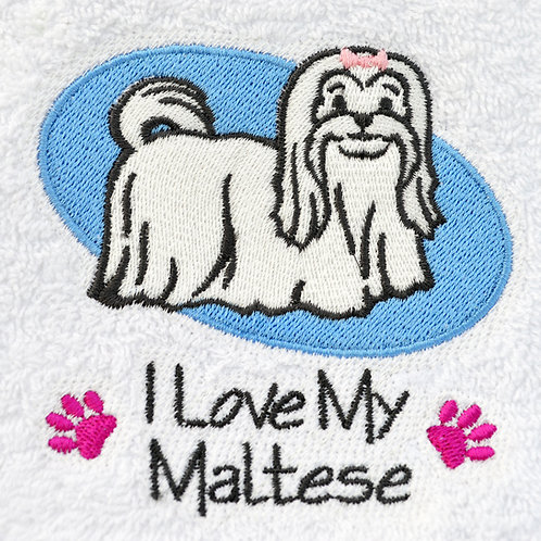 I Love My Maltese Dog Hand Towels Close Up