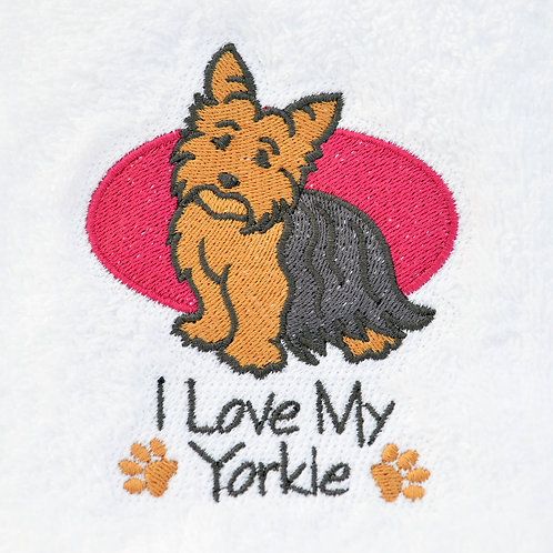 I Love My Yorkie Hand Towel With Dark Rose Circle Option