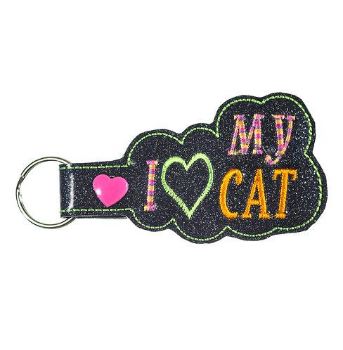I Love My Cat Key Fob or Key Chain