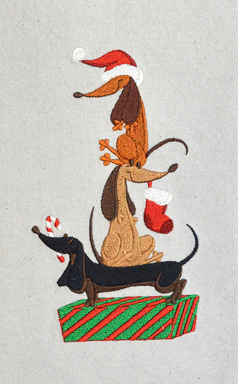 Stacked Dachshunds Embroidered Christmas Towel
