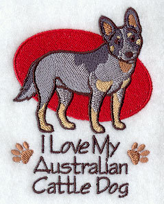 Australian Cattle Dog Design for Embroidered Towel