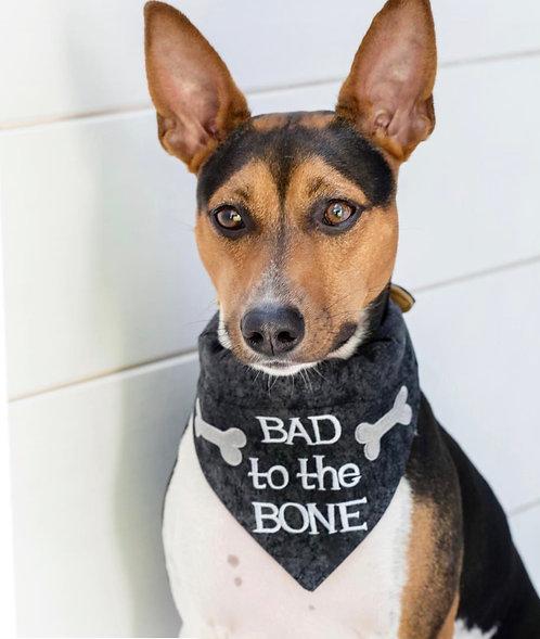 """Bad To The Bone"" Over The Collar Dog Bandana"