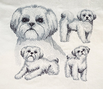 Shih Tzu Sketch Kitchen Tea Towel