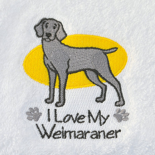 Weimaraner dog hand towel close up