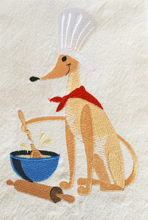Tea Towel Embroidered with a Greyhound Helping in the Kitchen Close UP