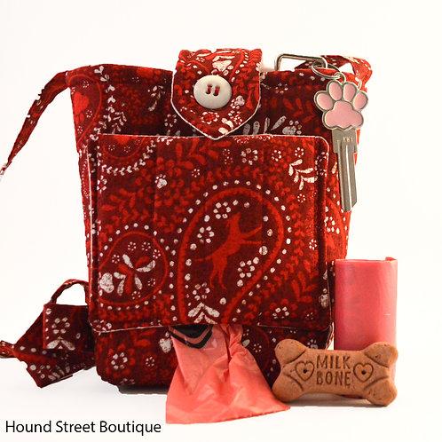 Red Dog Walking Bag With Poop Bag Dispenser Front View