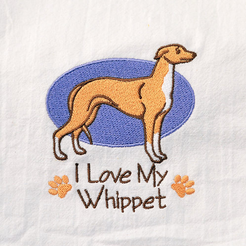 I Love My Whippet Dish Towel Close Up