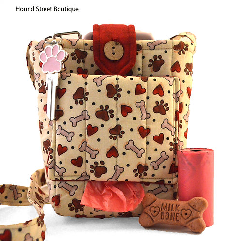 Dog Walking Bag With Paw Prints Front View