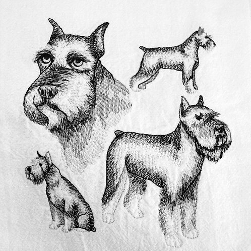 Schnauzer Sketch Tea Towel Close Up
