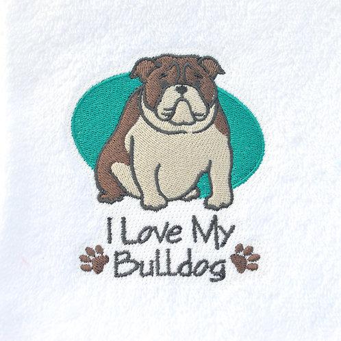 Bulldog Hand Towel Close Up