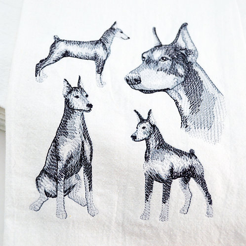 Doberman Pinscher Sketch Kitchen Tea Towels Close UP