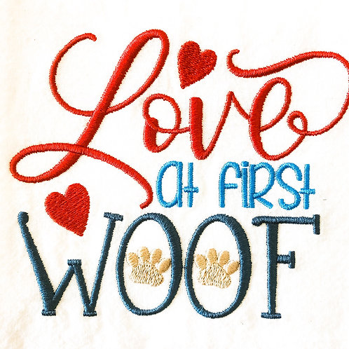 Love At First Woof Embroidered Towel