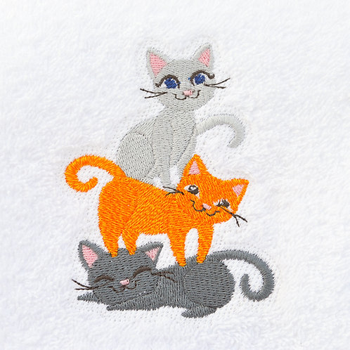 Three Cats Embroidered Hand Towel