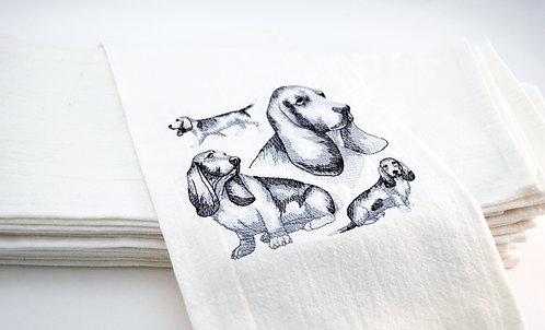 Bassett Hound Sketch Kitchen Tea Towel