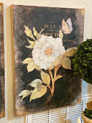 Burlap Floral Print