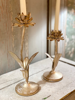 Gold Flower Candlestick Pair